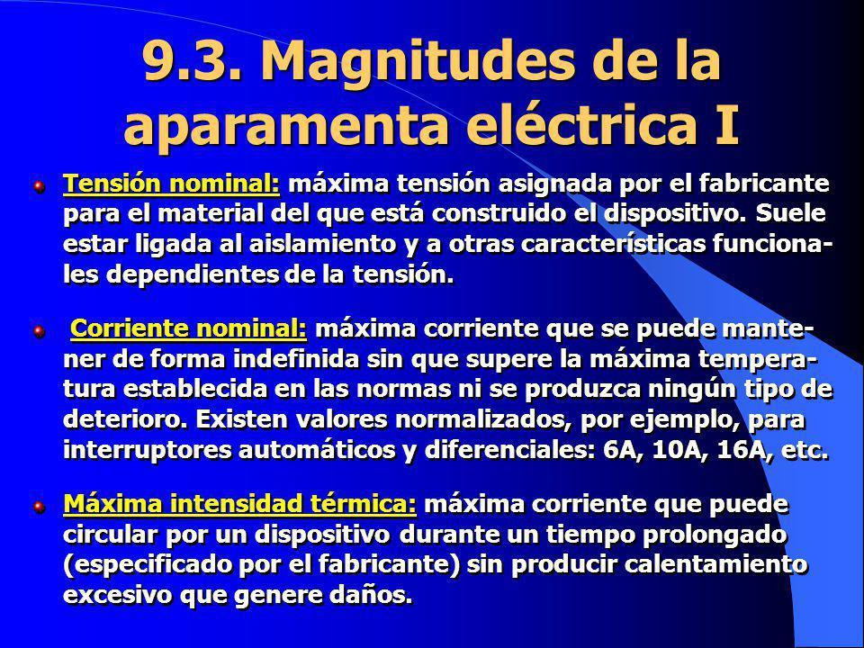 9.3. Magnitudes de la aparamenta eléctrica I Tensión nominal: máxima tensión asignada por el fabricante para el material del que está construido el di