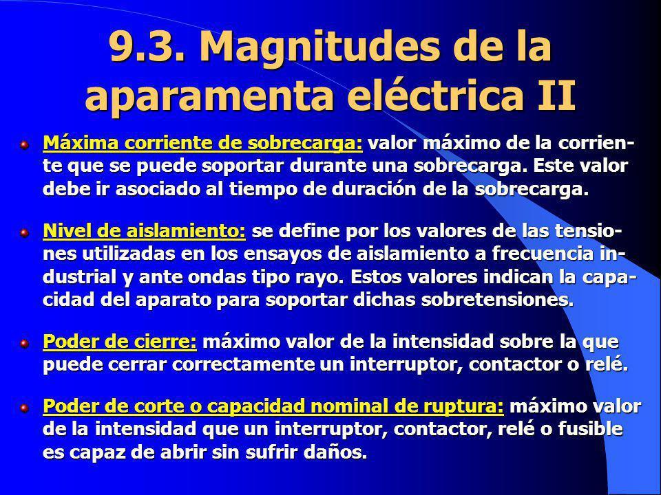 9.3. Magnitudes de la aparamenta eléctrica II Máxima corriente de sobrecarga: valor máximo de la corrien- te que se puede soportar durante una sobreca