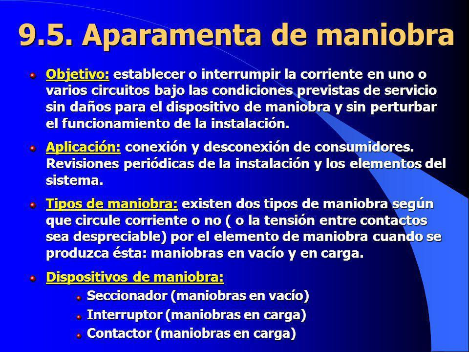 9.5. Aparamenta de maniobra Objetivo: establecer o interrumpir la corriente en uno o varios circuitos bajo las condiciones previstas de servicio sin d
