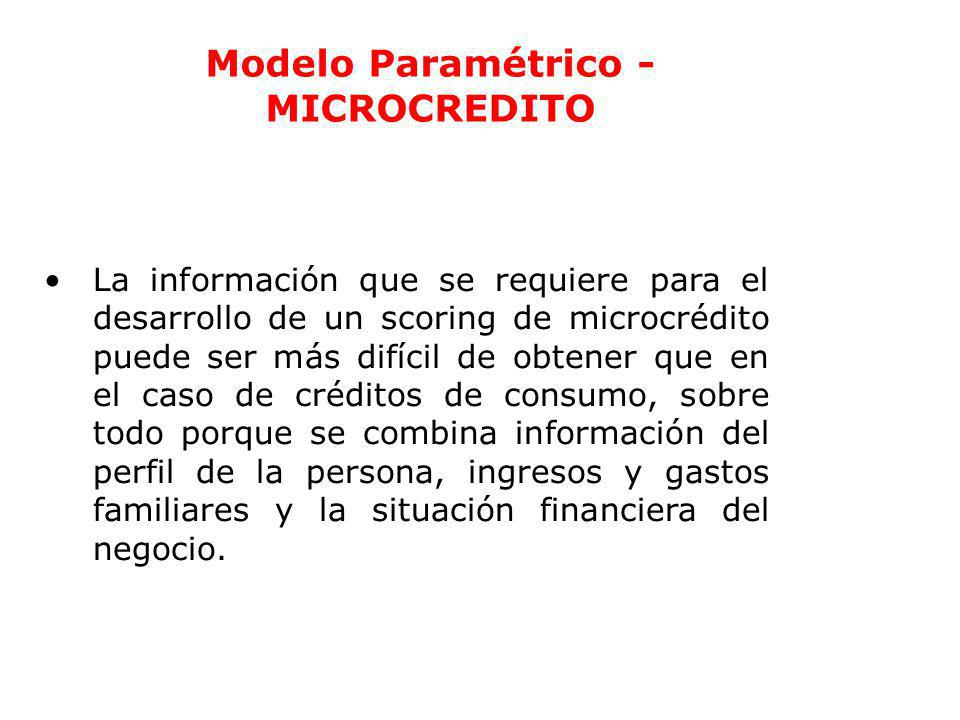 Ec. Ramiro Estrella C. Gestión de Riesgo Modelo Paramétrico - MICROCREDITO La información que se requiere para el desarrollo de un scoring de microcré