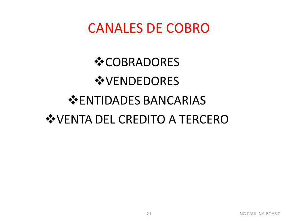 CANALES DE COBRO COBRADORES VENDEDORES ENTIDADES BANCARIAS VENTA DEL CREDITO A TERCERO 21ING PAULINA EGAS P