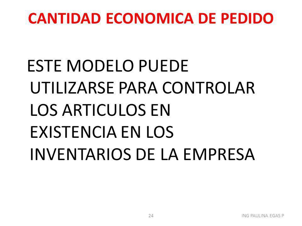 CANTIDAD ECONOMICA DE PEDIDO ESTE MODELO PUEDE UTILIZARSE PARA CONTROLAR LOS ARTICULOS EN EXISTENCIA EN LOS INVENTARIOS DE LA EMPRESA 24ING PAULINA EG