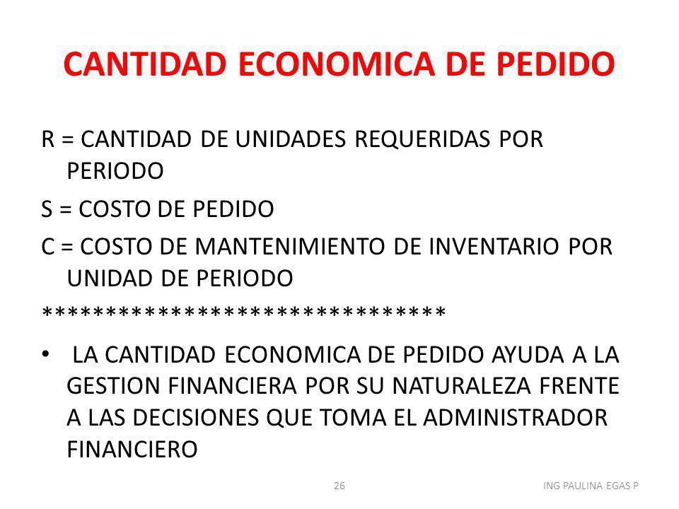 CANTIDAD ECONOMICA DE PEDIDO R = CANTIDAD DE UNIDADES REQUERIDAS POR PERIODO S = COSTO DE PEDIDO C = COSTO DE MANTENIMIENTO DE INVENTARIO POR UNIDAD D