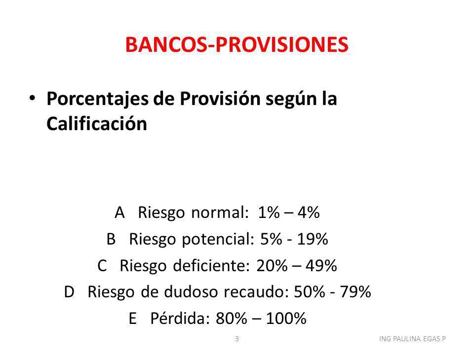 BANCOS-PROVISIONES Porcentajes de Provisión según la Calificación A Riesgo normal: 1% – 4% B Riesgo potencial: 5% - 19% C Riesgo deficiente: 20% – 49%