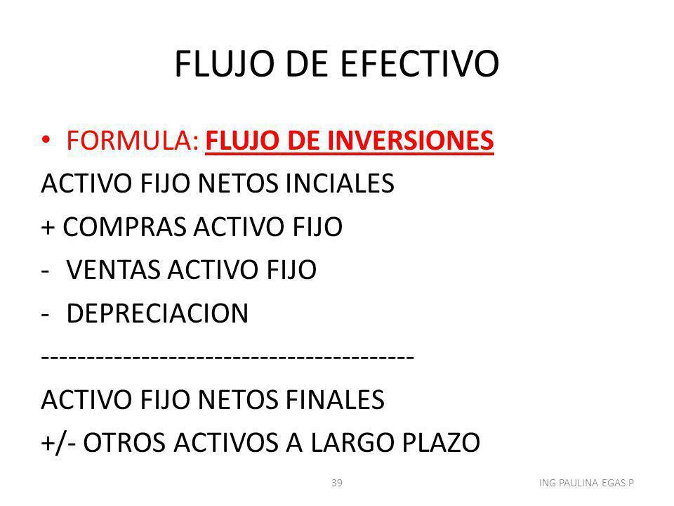 FLUJO DE EFECTIVO FORMULA: FLUJO DE INVERSIONES ACTIVO FIJO NETOS INCIALES + COMPRAS ACTIVO FIJO -VENTAS ACTIVO FIJO -DEPRECIACION -------------------
