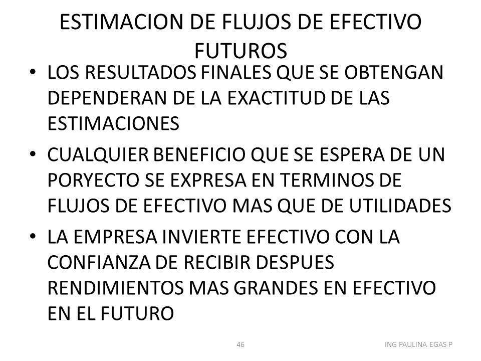 ESTIMACION DE FLUJOS DE EFECTIVO FUTUROS LOS RESULTADOS FINALES QUE SE OBTENGAN DEPENDERAN DE LA EXACTITUD DE LAS ESTIMACIONES CUALQUIER BENEFICIO QUE