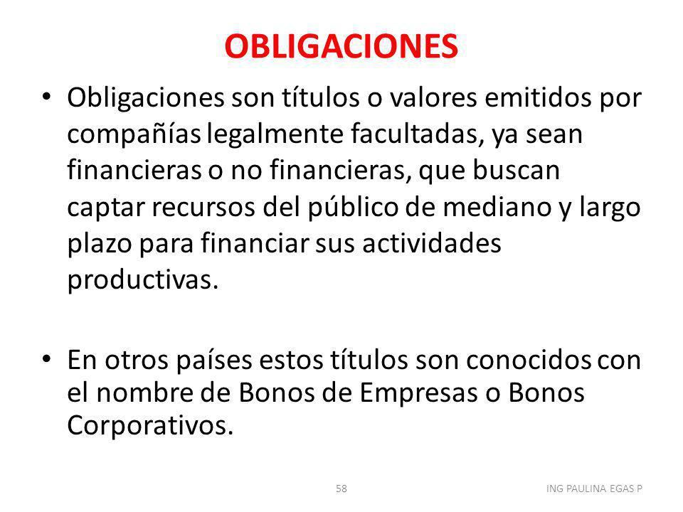 OBLIGACIONES Obligaciones son títulos o valores emitidos por compañías legalmente facultadas, ya sean financieras o no financieras, que buscan captar
