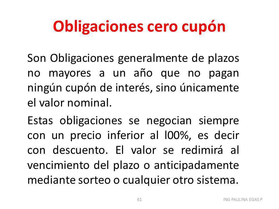 Obligaciones cero cupón Son Obligaciones generalmente de plazos no mayores a un año que no pagan ningún cupón de interés, sino únicamente el valor nom