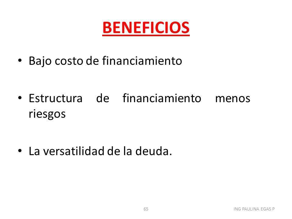 BENEFICIOS Bajo costo de financiamiento Estructura de financiamiento menos riesgos La versatilidad de la deuda. 65ING PAULINA EGAS P