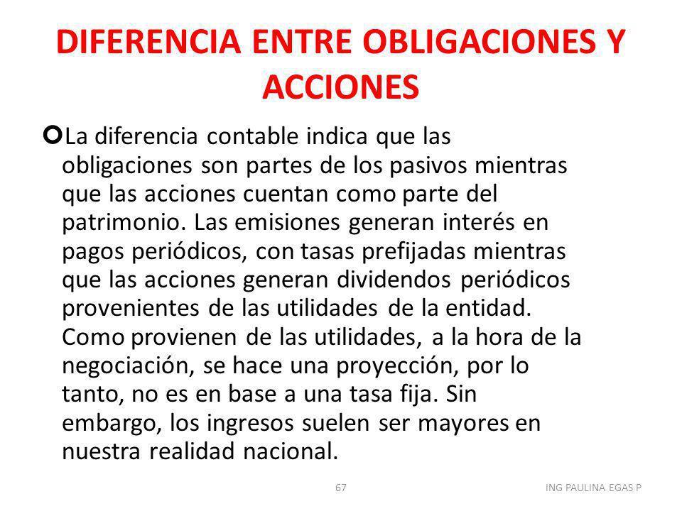 DIFERENCIA ENTRE OBLIGACIONES Y ACCIONES La diferencia contable indica que las obligaciones son partes de los pasivos mientras que las acciones cuenta
