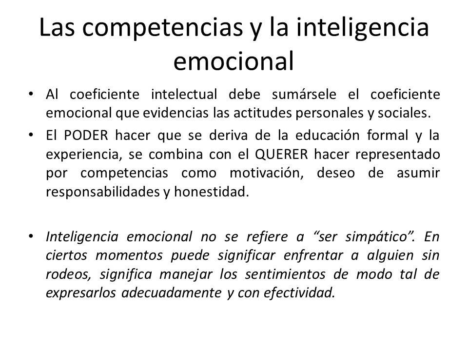 Al coeficiente intelectual debe sumársele el coeficiente emocional que evidencias las actitudes personales y sociales. El PODER hacer que se deriva de