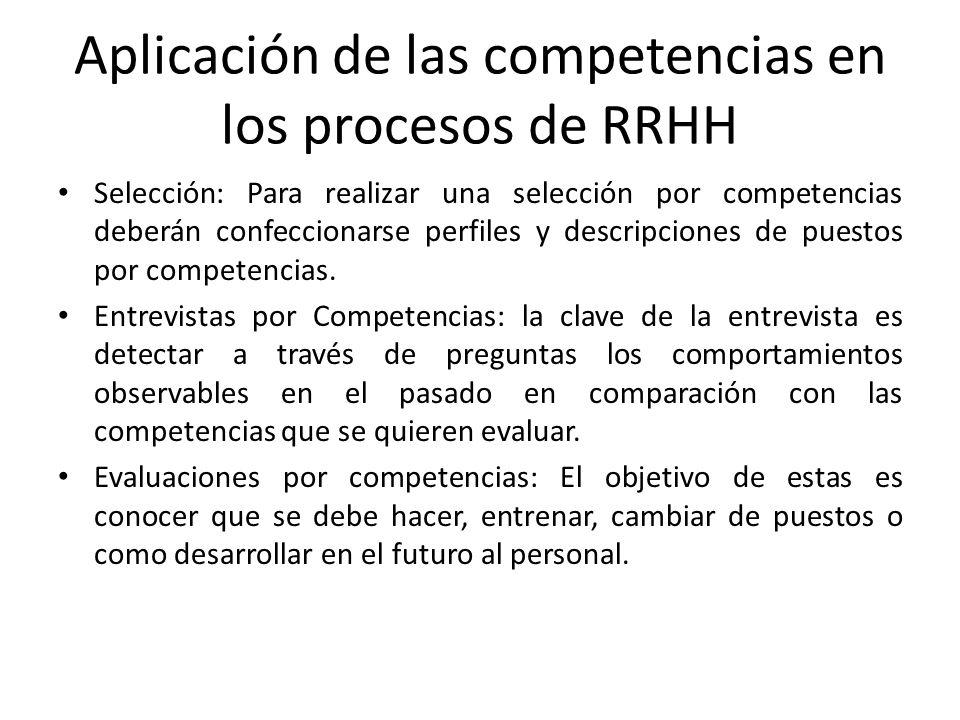 Aplicación de las competencias en los procesos de RRHH Selección: Para realizar una selección por competencias deberán confeccionarse perfiles y descr