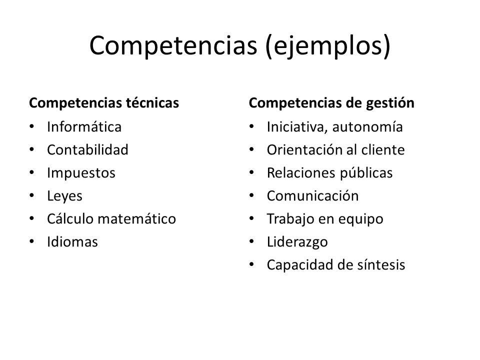 Competencias (ejemplos) Competencias técnicas Informática Contabilidad Impuestos Leyes Cálculo matemático Idiomas Competencias de gestión Iniciativa,