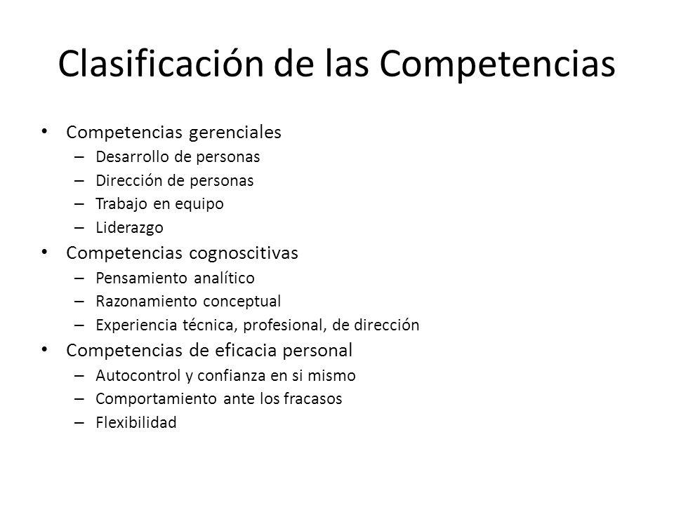 Competencias gerenciales – Desarrollo de personas – Dirección de personas – Trabajo en equipo – Liderazgo Competencias cognoscitivas – Pensamiento ana