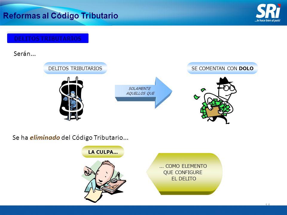 14 Reformas al Código Tributario DELITOS TRIBUTARIOS SOLAMENTE AQUELLOS QUE SE COMENTAN CON DOLO Serán...