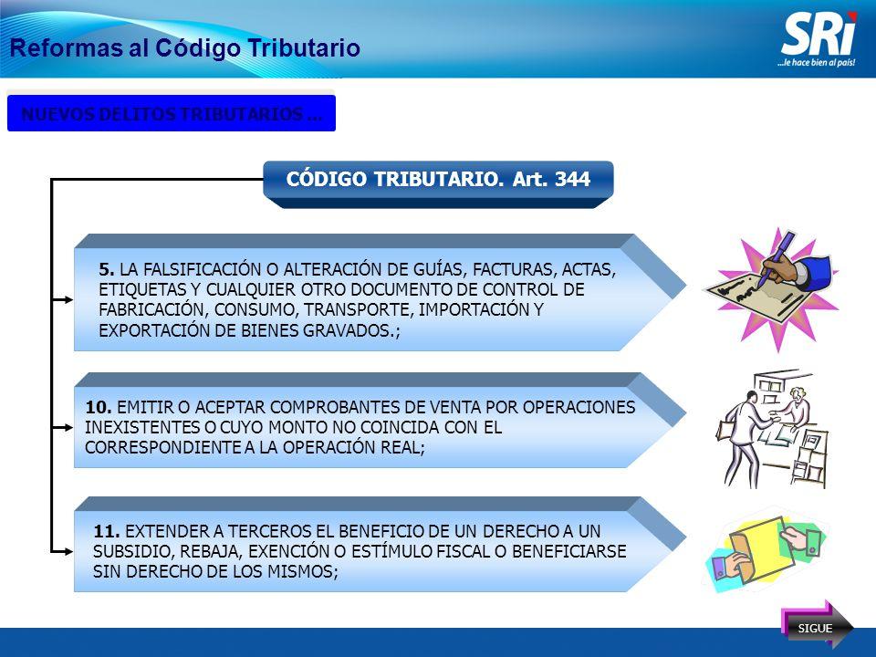 16 Reformas al Código Tributario NUEVOS DELITOS TRIBUTARIOS...