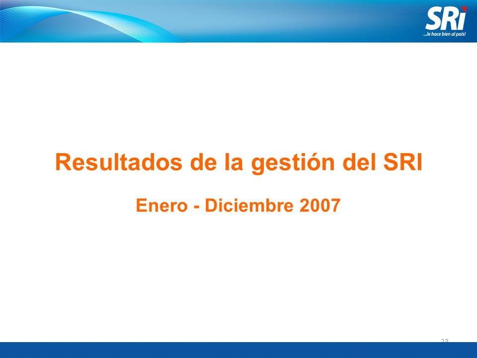 23 Resultados de la gestión del SRI Enero - Diciembre 2007