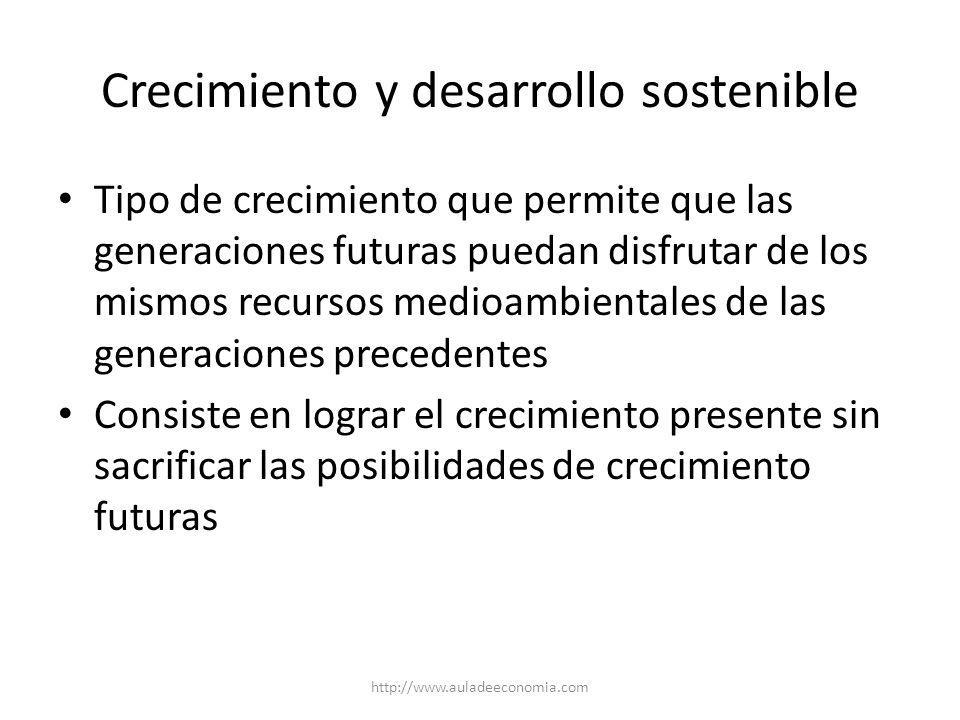 http://www.auladeeconomia.com Indicadores del desarrollo Tasa de crecimiento del PIB real Ingreso per cápita y su tasa de crecimiento Otros indicadores: – Sociales: salud, educación, etc.