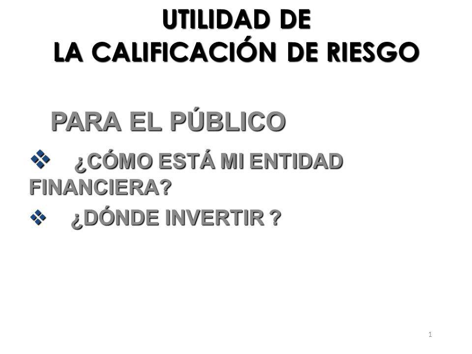 2 UTILIDAD DE LA CALIFICACIÓN DE RIESGO PARA EL PÚBLICO PARA EL PÚBLICO ¿CÓMO ESTÁ MI ENTIDAD FINANCIERA.
