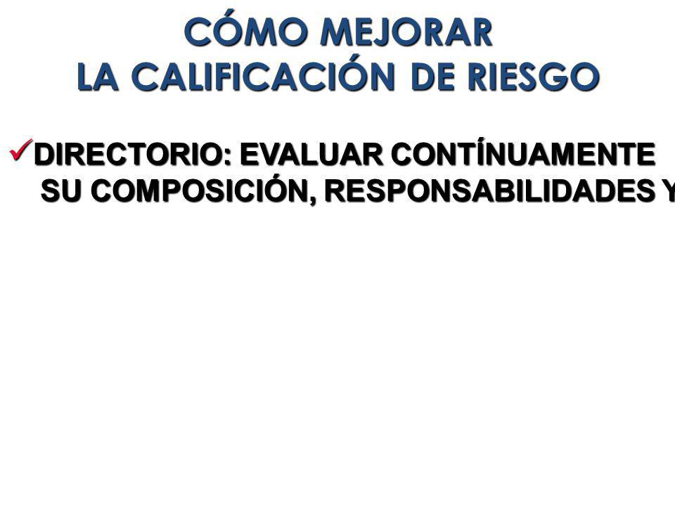 DIRECTORIO: EVALUAR CONTÍNUAMENTE DIRECTORIO: EVALUAR CONTÍNUAMENTE SU COMPOSICIÓN, RESPONSABILIDADES Y EFECTIVIDAD SU COMPOSICIÓN, RESPONSABILIDADES