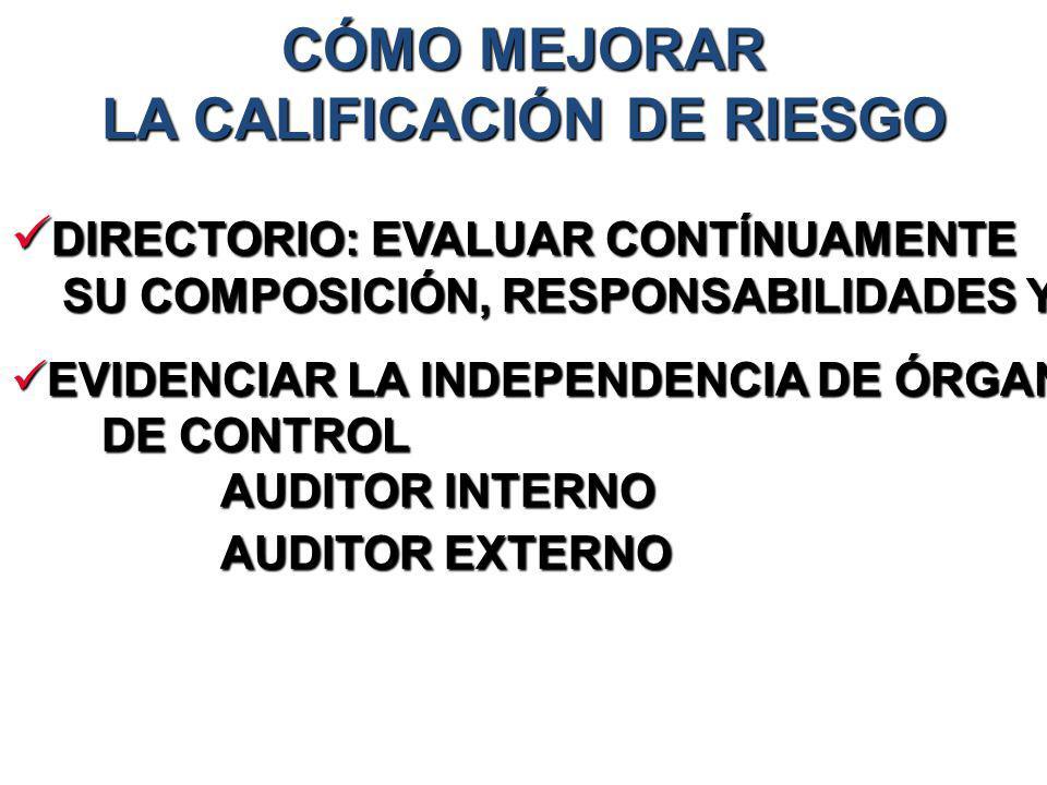 CÓMO MEJORAR LA CALIFICACIÓN DE RIESGO DIRECTORIO: EVALUAR CONTÍNUAMENTE DIRECTORIO: EVALUAR CONTÍNUAMENTE SU COMPOSICIÓN, RESPONSABILIDADES Y EFECTIV