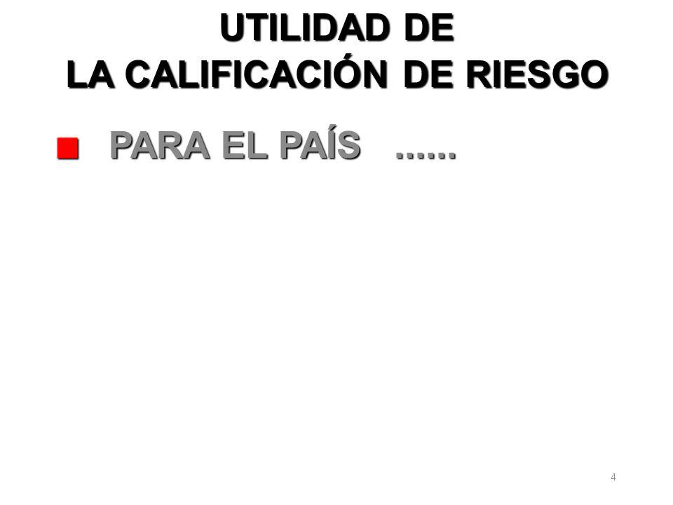 4 UTILIDAD DE LA CALIFICACIÓN DE RIESGO PARA EL PAÍS...... PARA EL PAÍS......