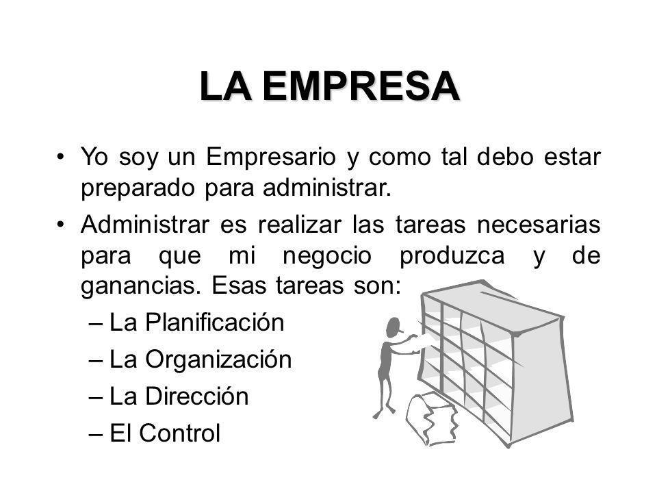 Yo soy un Empresario y como tal debo estar preparado para administrar. Administrar es realizar las tareas necesarias para que mi negocio produzca y de