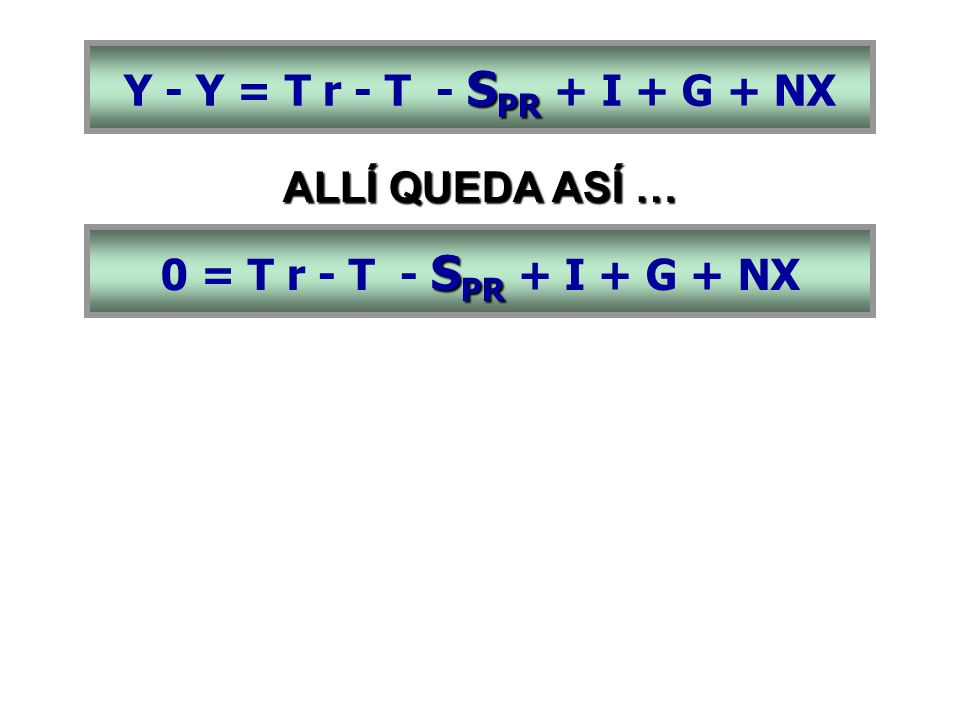 S PR 0 = T r - T - S PR + I + G + NX ALLÍ QUEDA ASÍ …