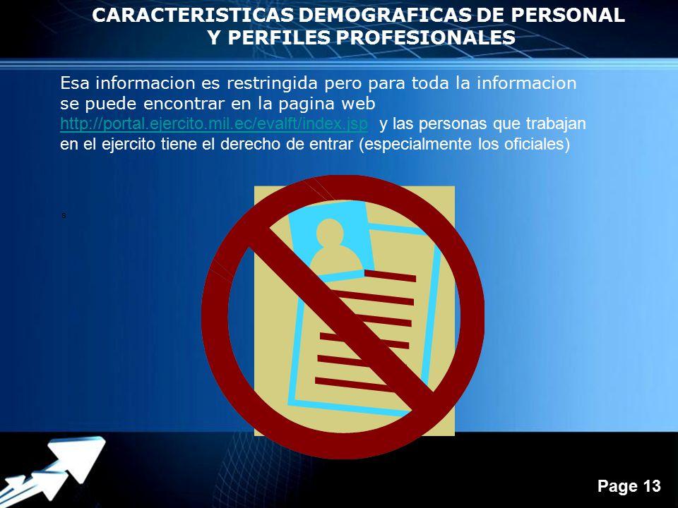 Powerpoint Templates Page 13 CARACTERISTICAS DEMOGRAFICAS DE PERSONAL Y PERFILES PROFESIONALES s Esa informacion es restringida pero para toda la informacion se puede encontrar en la pagina web http://portal.ejercito.mil.ec/evalft/index.jsphttp://portal.ejercito.mil.ec/evalft/index.jsp y las personas que trabajan en el ejercito tiene el derecho de entrar (especialmente los oficiales)
