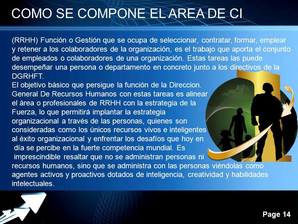 Powerpoint Templates Page 14 COMO SE COMPONE EL AREA DE CI (RRHH) Función o Gestión que se ocupa de seleccionar, contratar, formar, emplear y retener
