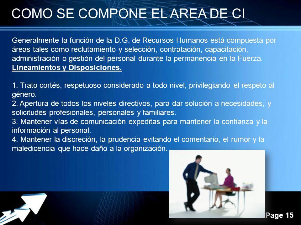 Powerpoint Templates Page 15 COMO SE COMPONE EL AREA DE CI Generalmente la función de la D.G. de Recursos Humanos está compuesta por áreas tales como