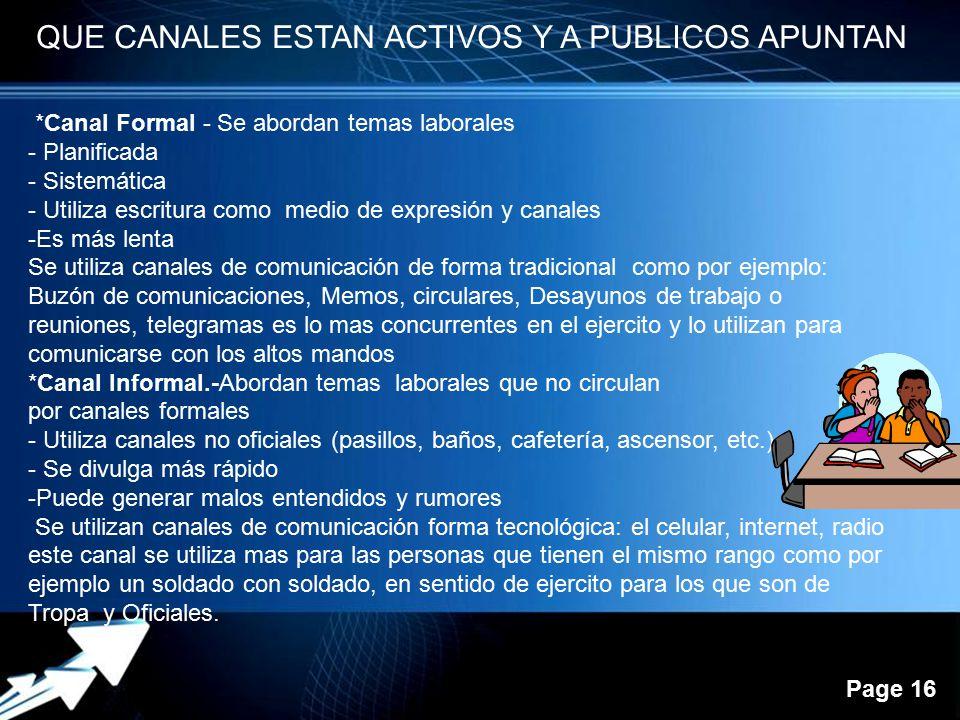 Powerpoint Templates Page 16 QUE CANALES ESTAN ACTIVOS Y A PUBLICOS APUNTAN *Canal Formal - Se abordan temas laborales - Planificada - Sistemática - U