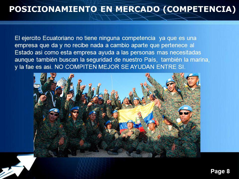 Powerpoint Templates Page 8 POSICIONAMIENTO EN MERCADO (COMPETENCIA) El ejercito Ecuatoriano no tiene ninguna competencia ya que es una empresa que da