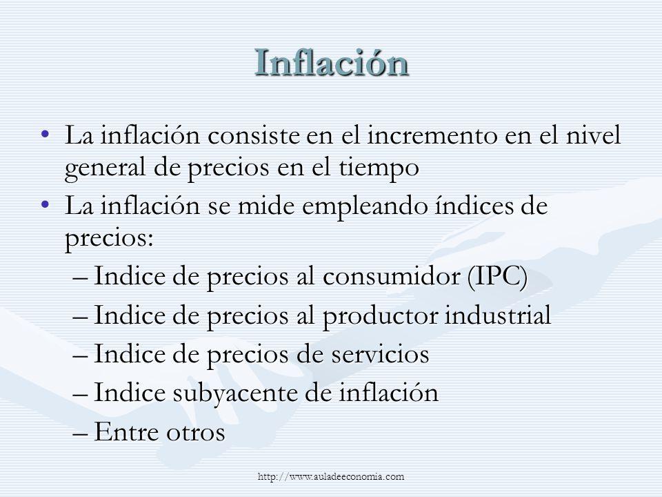 Inflación La inflación consiste en el incremento en el nivel general de precios en el tiempoLa inflación consiste en el incremento en el nivel general