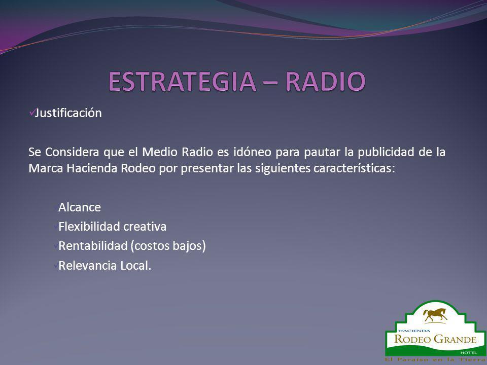 Justificación Se Considera que el Medio Radio es idóneo para pautar la publicidad de la Marca Hacienda Rodeo por presentar las siguientes característi
