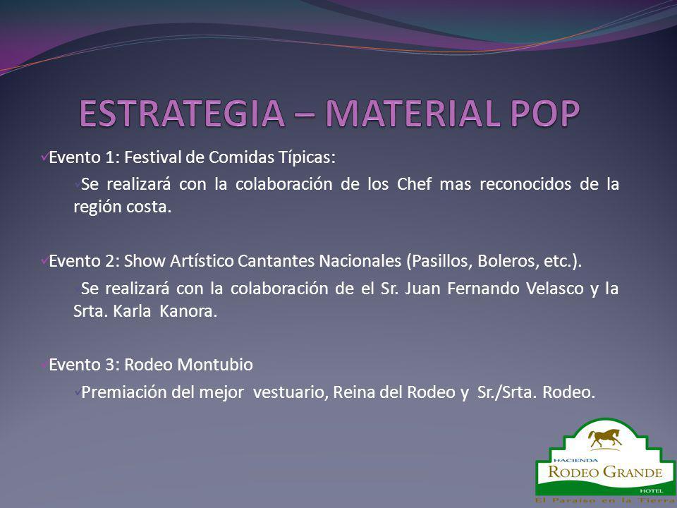 Evento 1: Festival de Comidas Típicas: Se realizará con la colaboración de los Chef mas reconocidos de la región costa. Evento 2: Show Artístico Canta