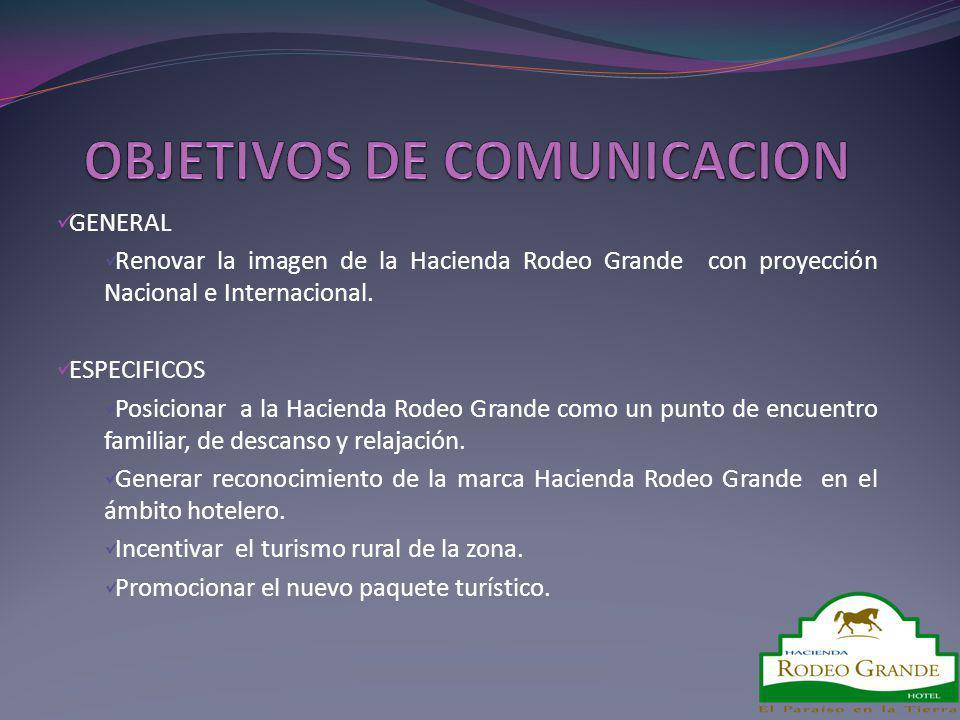 GENERAL Renovar la imagen de la Hacienda Rodeo Grande con proyección Nacional e Internacional. ESPECIFICOS Posicionar a la Hacienda Rodeo Grande como