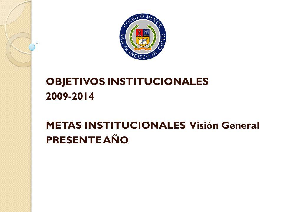 OBJETIVOS INSTITUCIONALES 2009-2014 METAS INSTITUCIONALES Visión General PRESENTE AÑO
