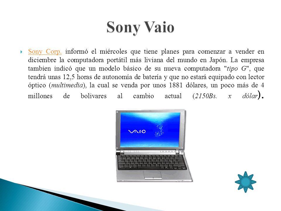 Sony Corp. informó el miércoles que tiene planes para comenzar a vender en diciembre la computadora portátil más liviana del mundo en Japón. La empres