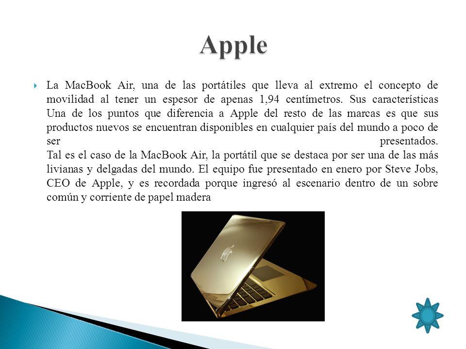 La MacBook Air, una de las portátiles que lleva al extremo el concepto de movilidad al tener un espesor de apenas 1,94 centímetros. Sus característica