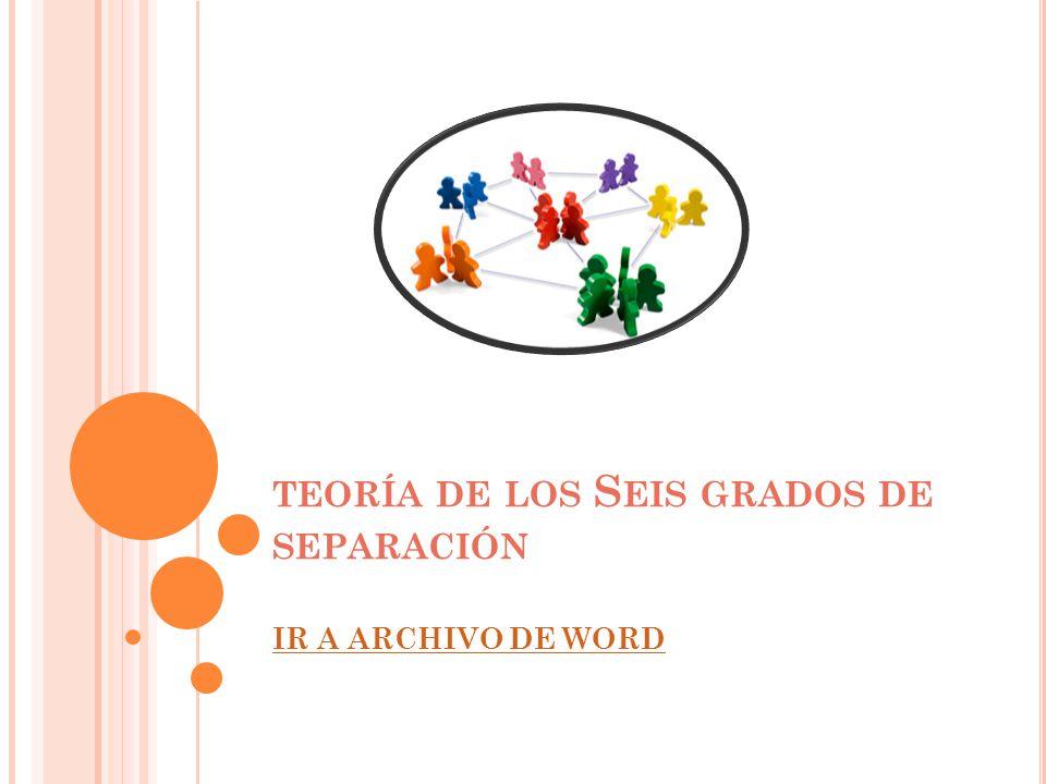 TEORÍA DE LOS S EIS GRADOS DE SEPARACIÓN IR A ARCHIVO DE WORD