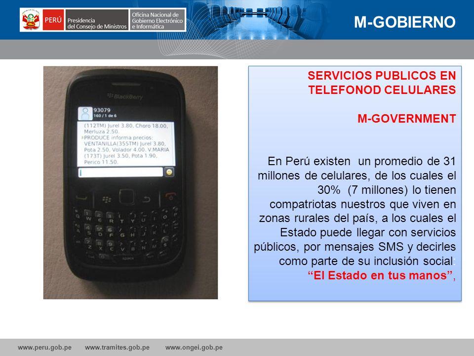 www.peru.gob.pe www.tramites.gob.pe www.ongei.gob.pe ACCESO INTERNET 25,2% de los hogares peruanos disponen de una computadora. 32,1% hogares de Lima