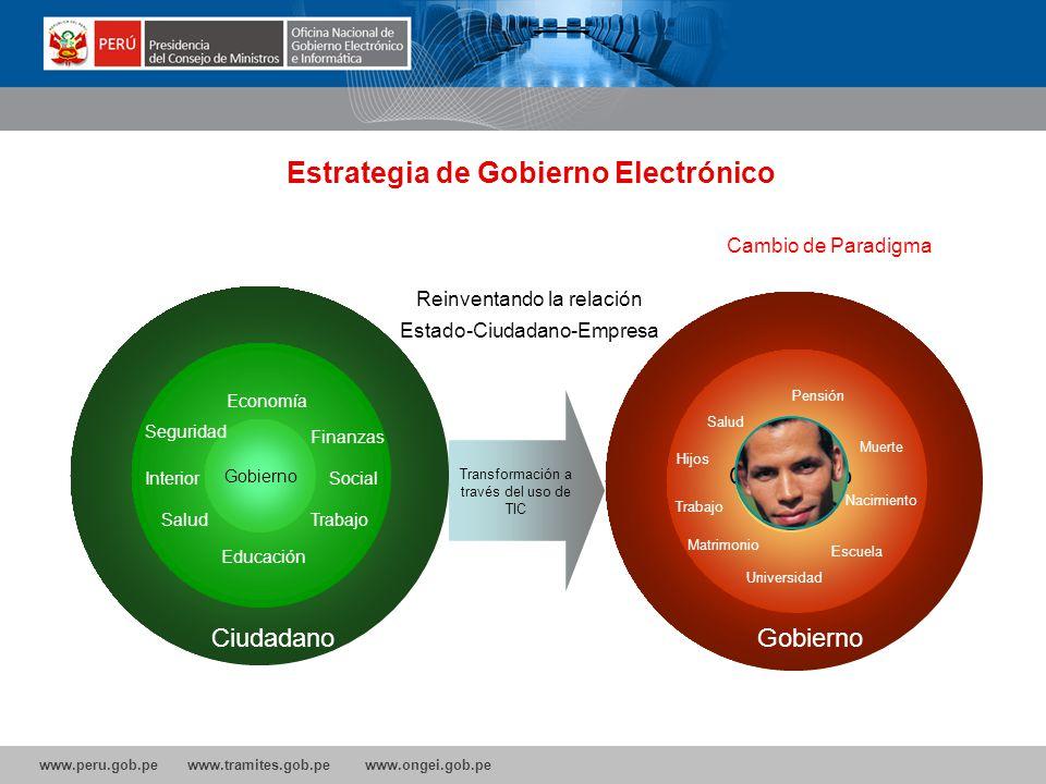 www.peru.gob.pe www.tramites.gob.pe www.ongei.gob.pe Gobierno Electrónico permite innovar las Políticas Públicas pensadas en el Ciudadano, apoyar la d