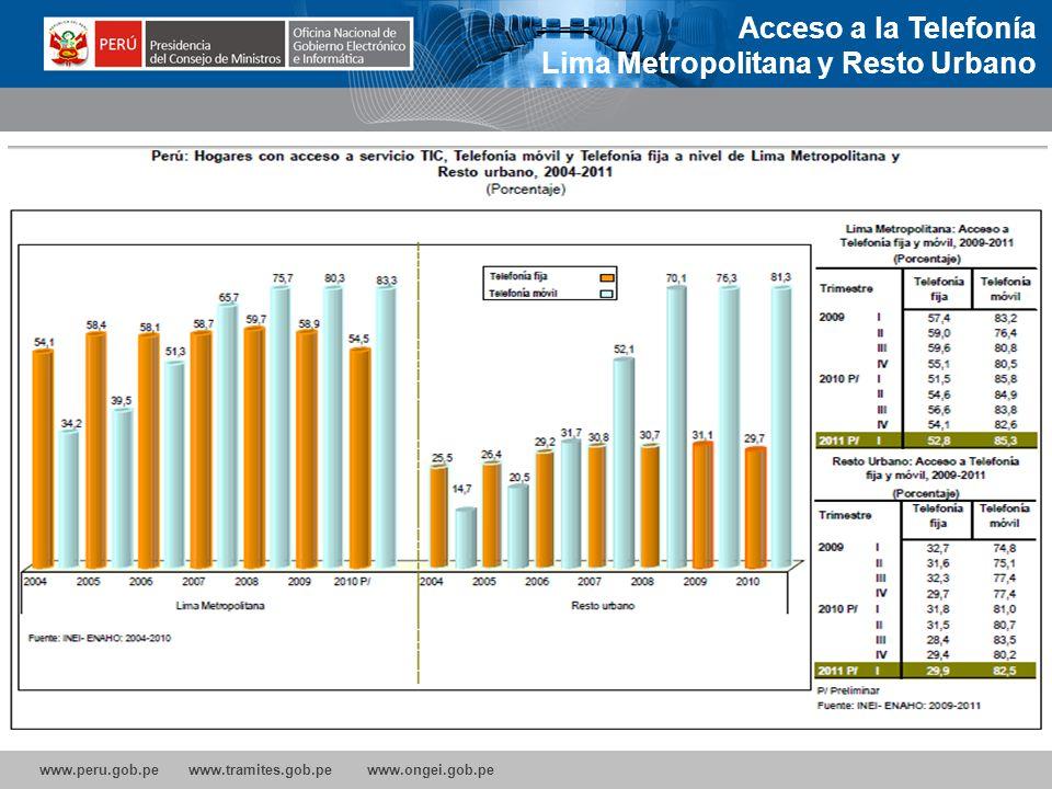 www.peru.gob.pe www.tramites.gob.pe www.ongei.gob.pe 10% de aumento de las conexiones de Banda Ancha incrementa el crecimiento económico de un país en un 1,3%, lo que convierte a este servicio como el de mayor incidencia en este crecimiento.