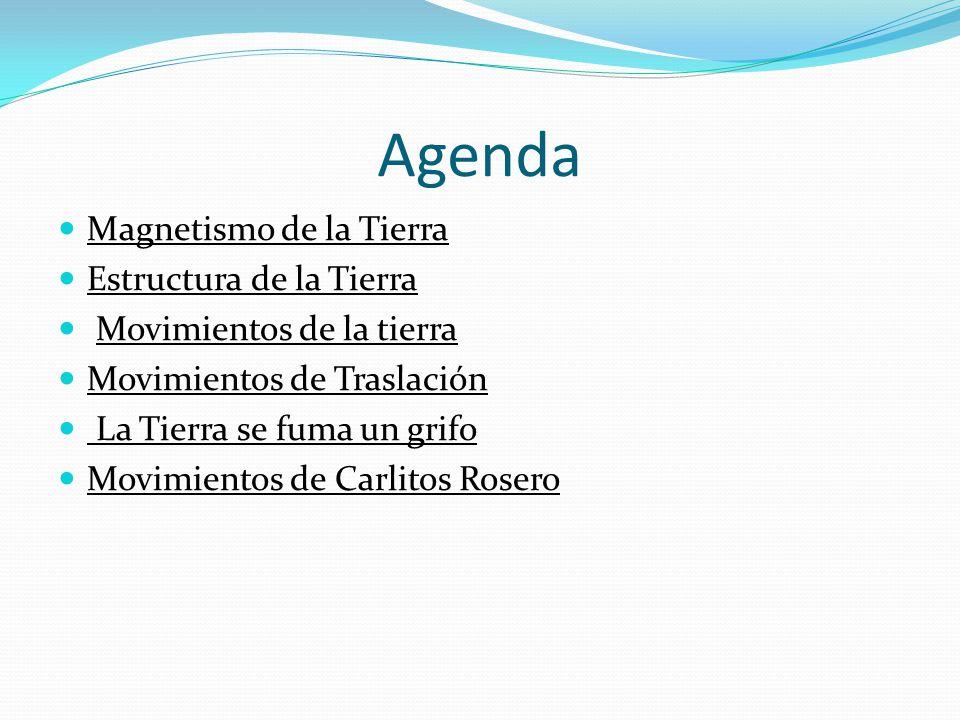 Agenda Magnetismo de la Tierra Estructura de la Tierra Movimientos de la tierra Movimientos de Traslación La Tierra se fuma un grifo Movimientos de Ca