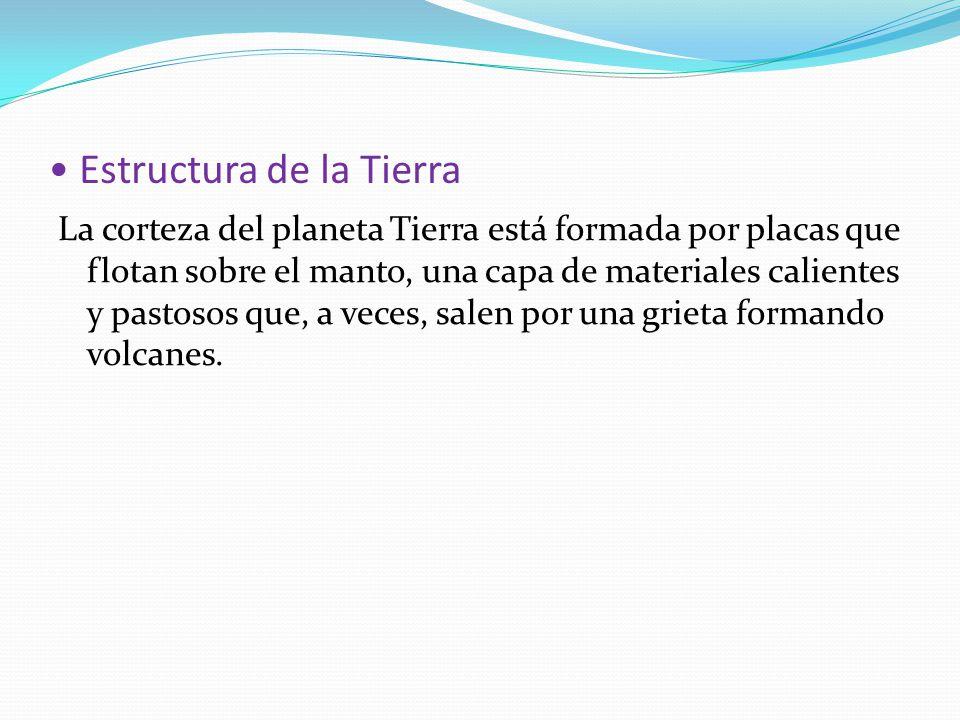 Estructura de la Tierra La corteza del planeta Tierra está formada por placas que flotan sobre el manto, una capa de materiales calientes y pastosos q