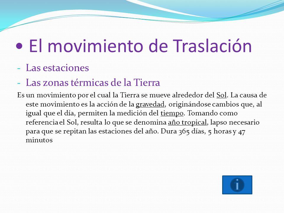 El movimiento de Traslación - Las estaciones - Las zonas térmicas de la Tierra Es un movimiento por el cual la Tierra se mueve alrededor del Sol. La c