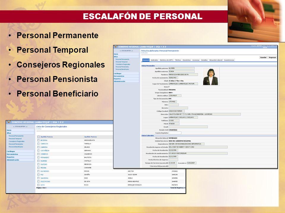 ESCALAFÓN DE PERSONAL Personal Permanente Personal Temporal Consejeros Regionales Personal Pensionista Personal Beneficiario