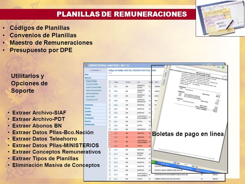 PLANILLAS DE REMUNERACIONES Códigos de Planillas Convenios de Planillas Maestro de Remuneraciones Presupuesto por DPE Boletas de pago en línea Utilita