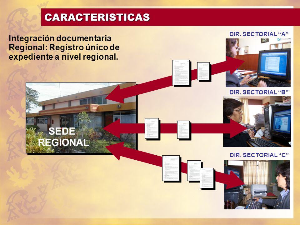 CARACTERISTICAS SEDE REGIONAL DIR. SECTORIAL A DIR. SECTORIAL B DIR. SECTORIAL C Integración documentaria Regional: Registro único de expediente a niv